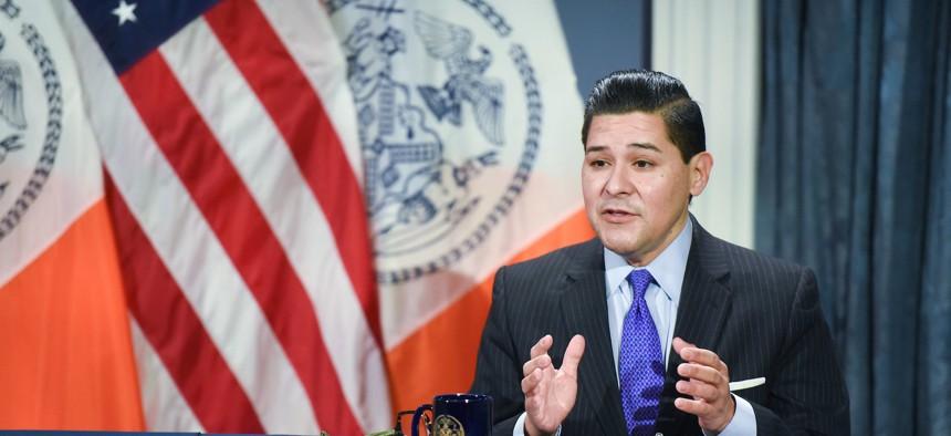 New York City schools Chancellor Richard Carranza at a media availability on December 21.