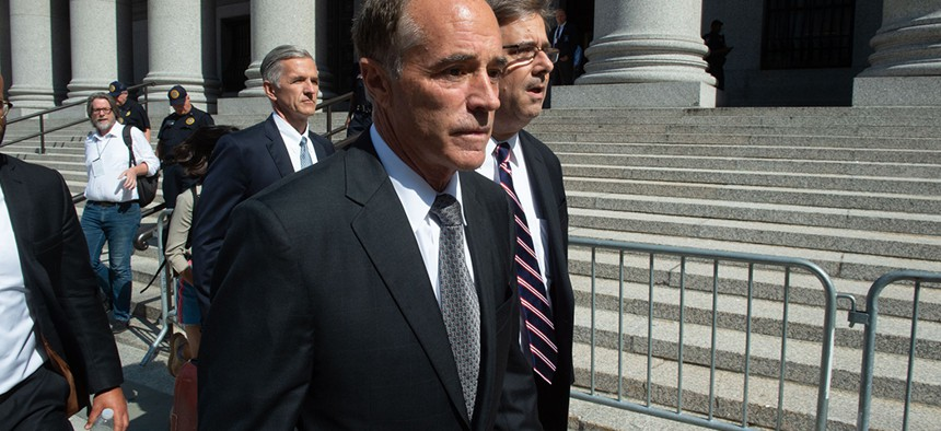 Rep. Chris Collins leaving federal court in Manhattan after his arraignment on insider trading charges.