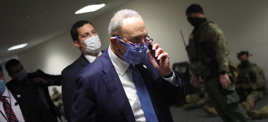 Senator Chuck Schumer on his way to ratify the election
