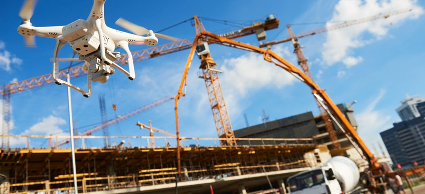 A drone being used at a construction site.