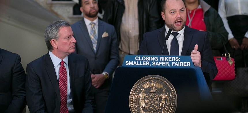 New York City Council Speaker Corey Johnson and Mayor Bill de Blasio announce the closing of Rikers Island.