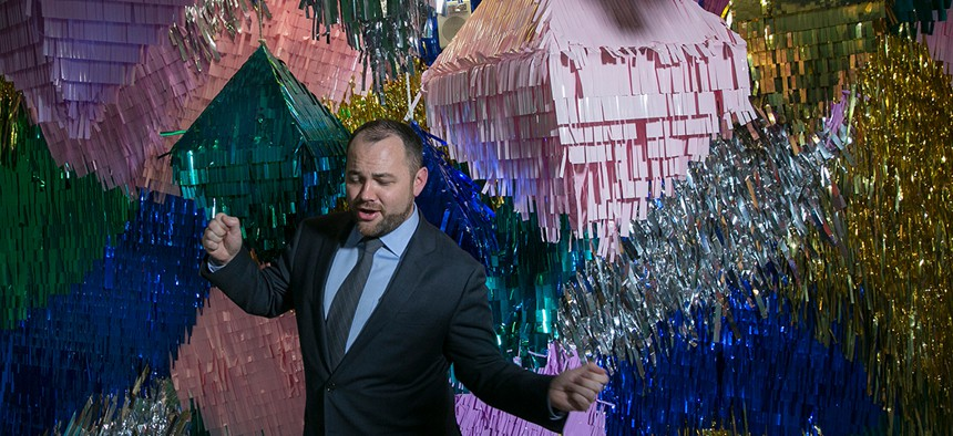 New York City Council Speaker Corey Johnson touring the Facebook offices in February.