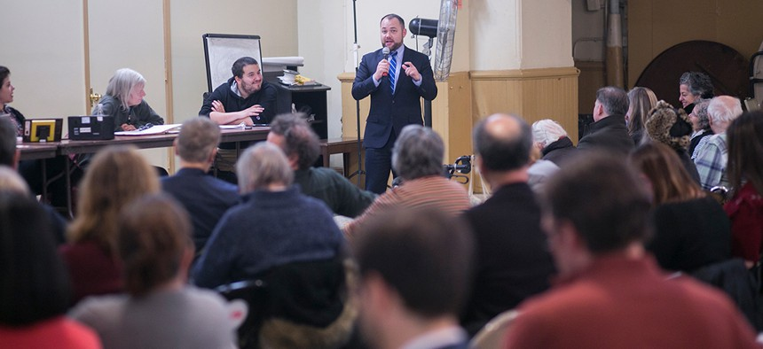 New York City Council Speaker Corey Johnson speaks at a Community Board 2 monthly meeting.