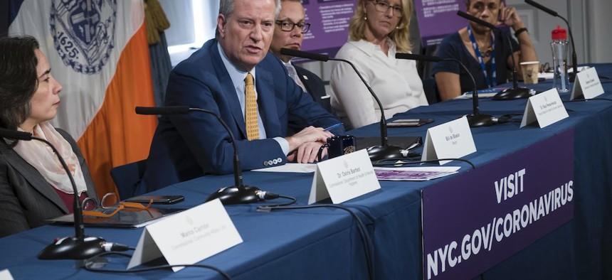Mayor de Blasio hosting a roundtable on coronavirus on March 11th.