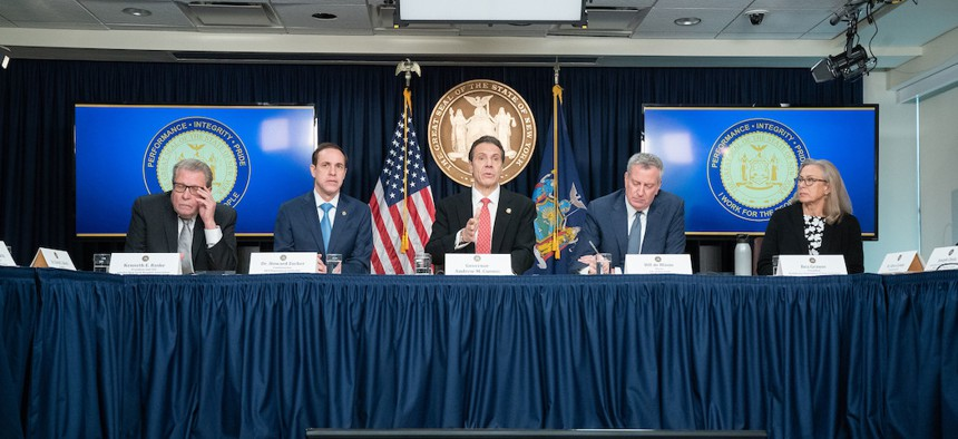 Governor Cuomo, Mayor de Blasio, and New York health officials during a briefing on the Coronavirus in Manhattan on March 2nd.