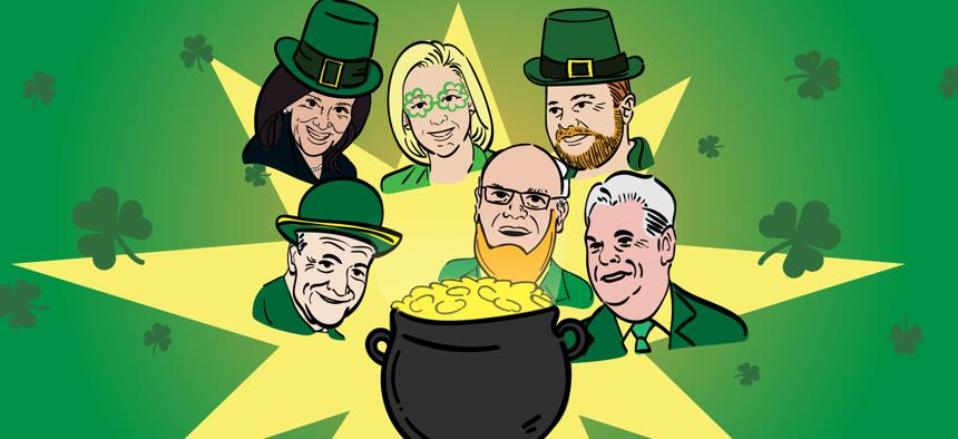 Various New York politicians in Irish-themed attire