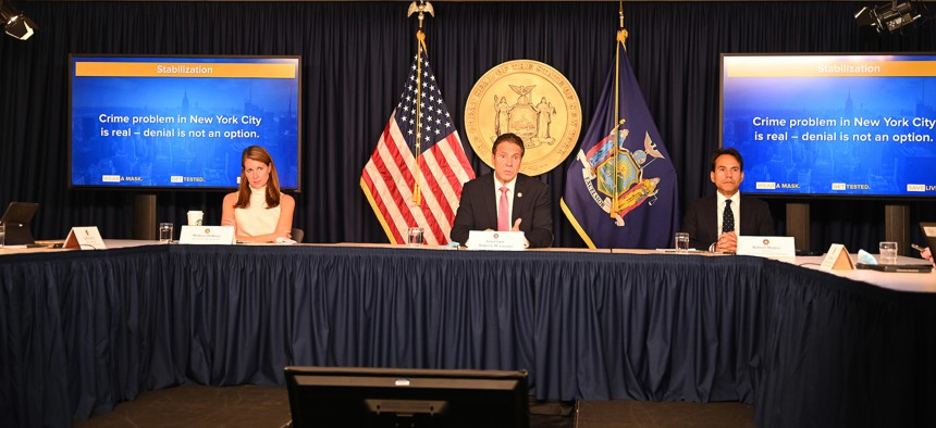 Governor Cuomo with State Budget Director Robert Mujica.