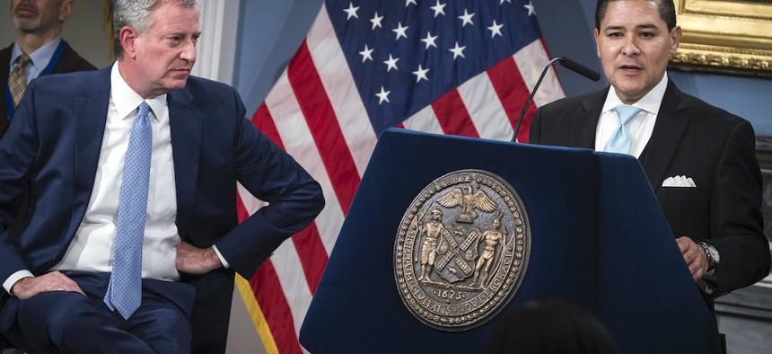 Mayor Bill de Blasio and New York City Schools Chancellor Richard Carranza on Monday, March 16.