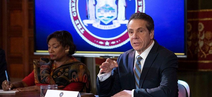 Governor Cuomo and state Senate Majority Leader Andrea Stewart-Cousins at the Coronavirus legislation signing on March 3rd.