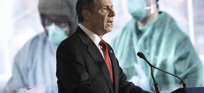 Governor Cuomo during the State of the State address on Monday.