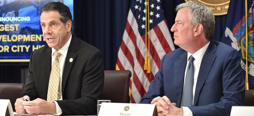 New York Gov. Andrew Cuomo and New York City Mayor Bill de Blasio.