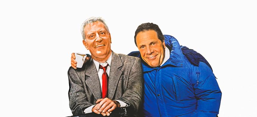 Bill de blasio and Andrew cuomo in planes trains and automobiles