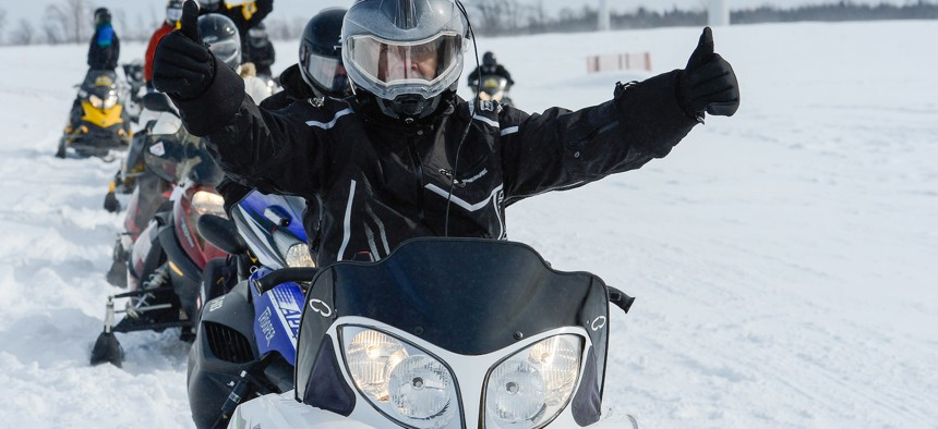 Gov. Andrew Cuomo appeared in Lowville in 2015 to promote winter tourism in upstate New York.