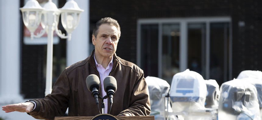 Governor Cuomo at Pathways Nursing and Rehabilitation Center on April 12th.