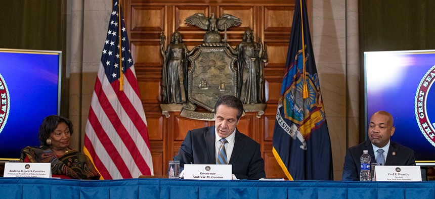 Governor Andrew M. Cuomo signing coronavirus legislation on March 3rd.