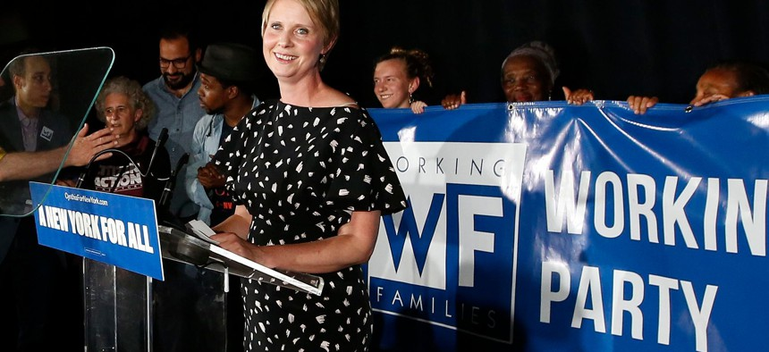 Gubernatorial candidate Cynthia Nixon delivers her concession speech at the Working Families Party primary night party in New York City.