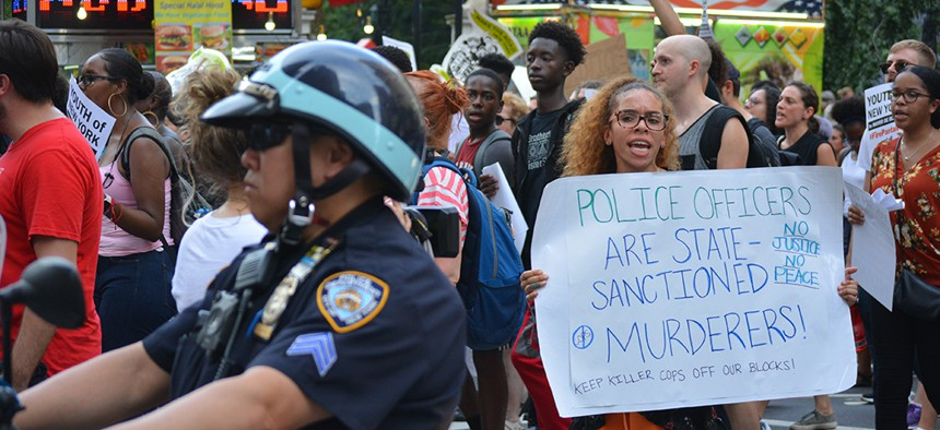People protesting on July 17, the anniversary of the death of Eric Garner, in Lower Manhattan.