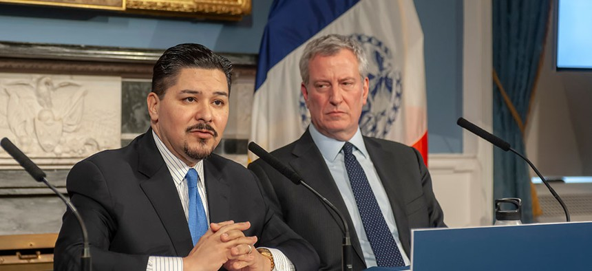 Mayor Bill de Blasio and Richard A. Carranza, Dept. of Education Schools Chancellor at a press conference in NYC.