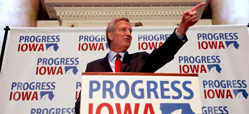 New York City Mayor Bill de Blasio speaks during an event in Des Moines, Iowa.