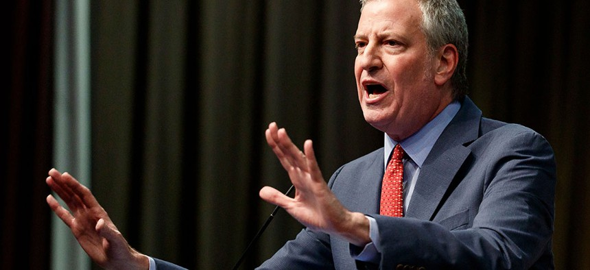 New York City Mayor Bill de Blasio addresses the National Action Network's annual national convention in New York.