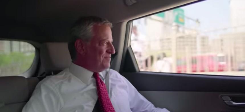 A screenshot from Bill de Blasio's presidential campaign announcement.