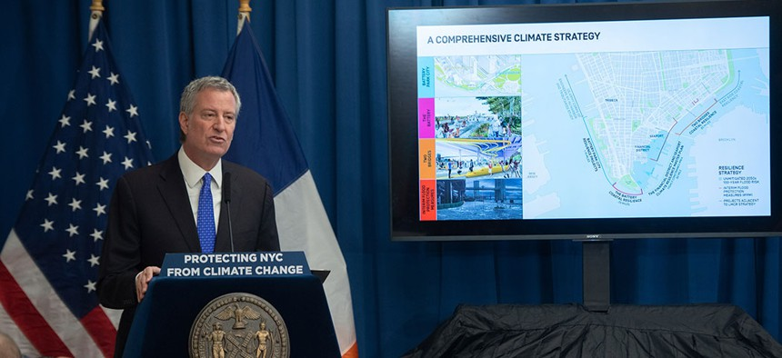 New York City Mayor Bill de Blasio announces $500 million resiliency plan to protect Lower Manhattan from climate change.