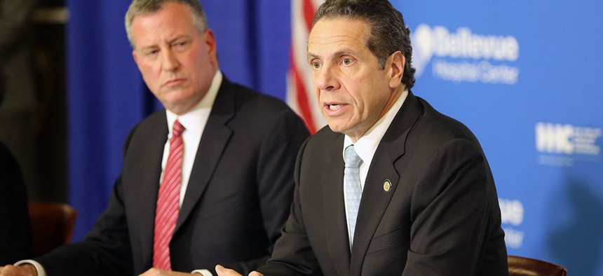 Gov. Andrew Cuomo joined New York City Mayor Bill de Blasio in a press conference on October 23, 2014 to discuss the 33-year-old New York City doctor who had recently contracted the Ebola virus while working in Africa.