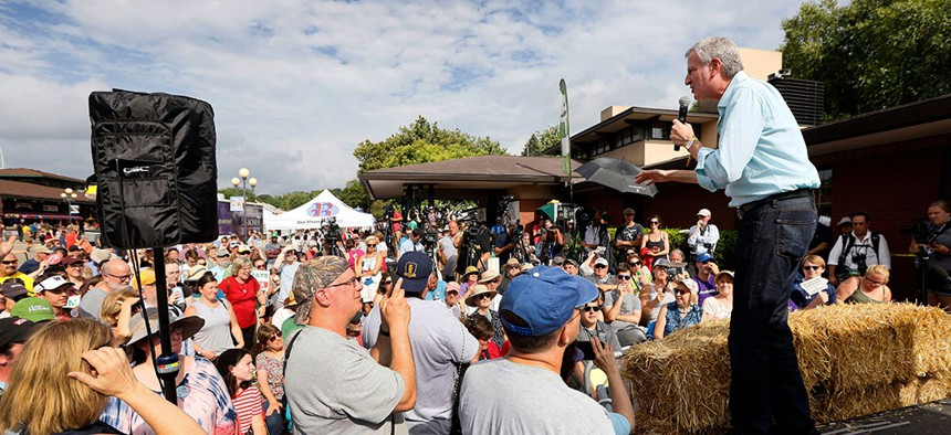 New York City Mayor Bill de Blasio speaks at the Des Moines Register Soapbox during his visit to the Iowa State Fair.