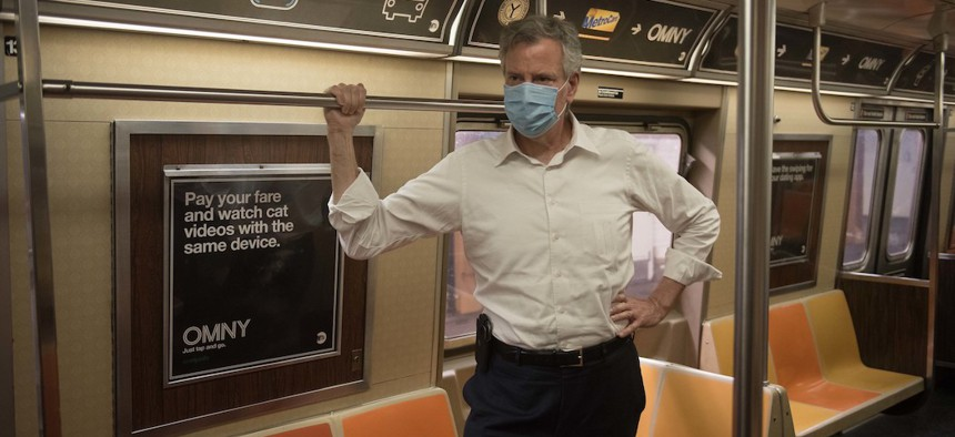 Mayor Bill de Blasio takes the subway on June 23rd to celebrate phase two of reopening.