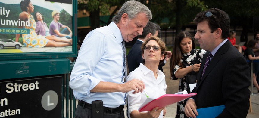 New York City Department of Transportation Commissioner Polly Trottenberg and Mayor de Blasio in 2018.