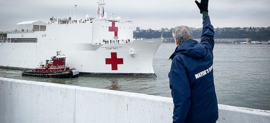NYC Mayor Bill de Blasio welcoming the USNS Comfort to New York City.