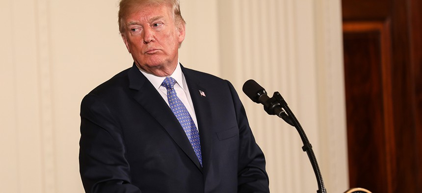 President Donald Trump during at a press conference in the East Room of the White House.