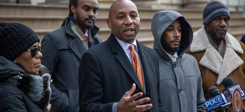 New York City Councilman Donovan Richards calls on the state to direct revenue from legalized marijuana to those harmed by its prohibition in March.