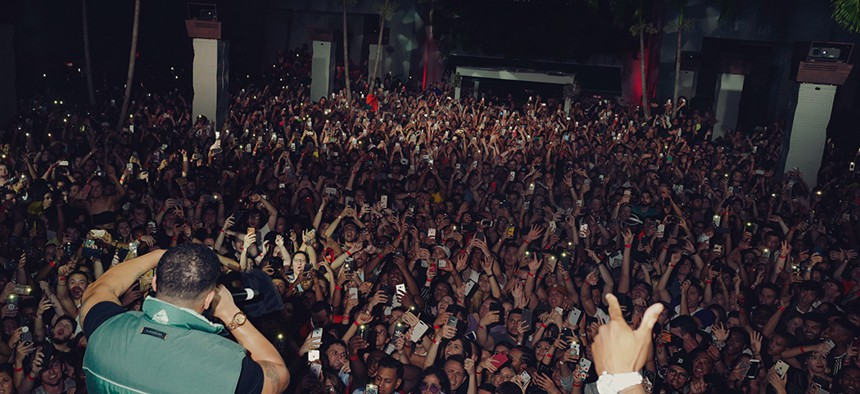 Drake performing during a surprise Day Party at Brooklyn Mirage in August.