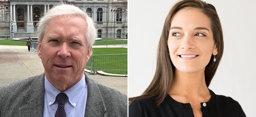 E.J. McMahon on the left and Julia Salazar on the right