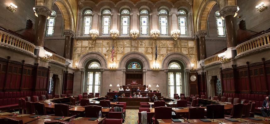 An empty New York State Senate