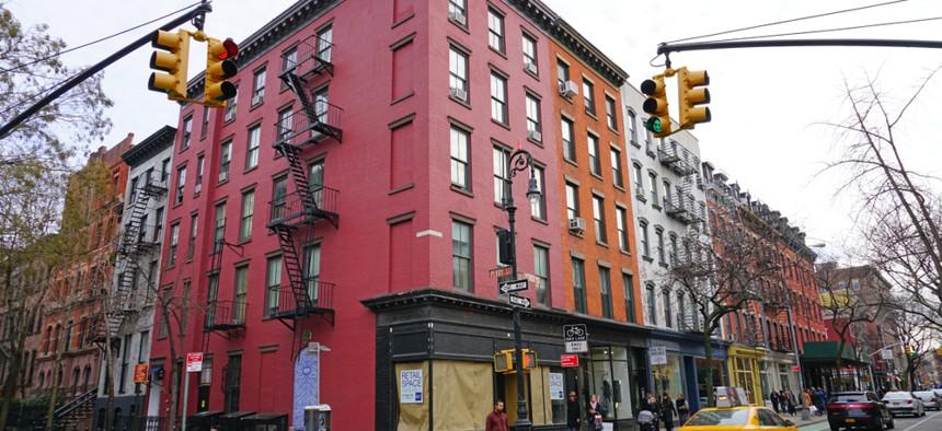 An empty storefront on a street corner in Manhattan's Greenwich Village