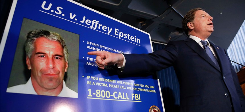 Attorney for the Southern District of New York, Geoffrey Berman speaks during a news conference about the arrest of Jeffrey Epstein in New York.