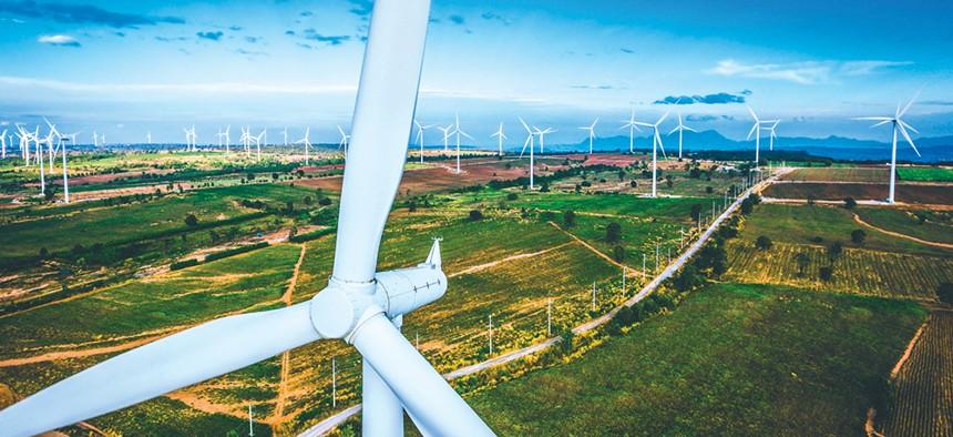 a close-up of a wind turbine