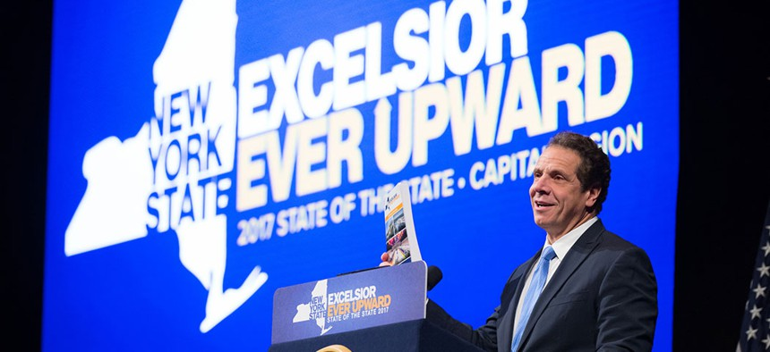 Gov. Andrew Cuomo discussing the Excelsior Scholarship in 2017.