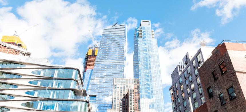 Modern glass skyscrapers apartment buildings in Chelsea, Manhattan