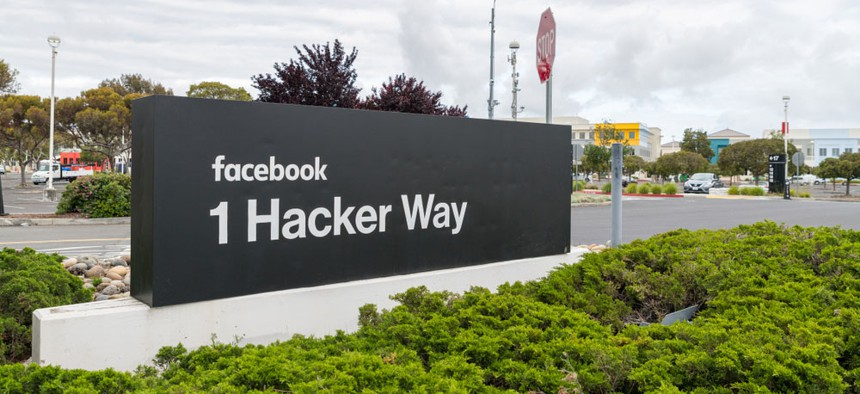 The sign at the entrance to Facebook headquarters in Silicon Valley.