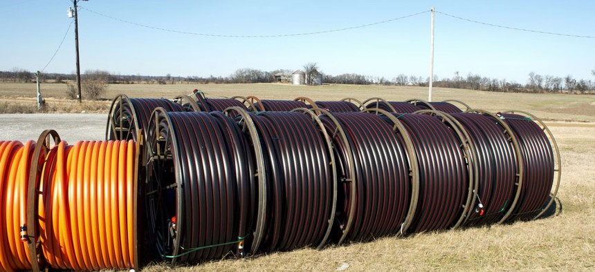 Fiberoptic cable waiting to be laid.