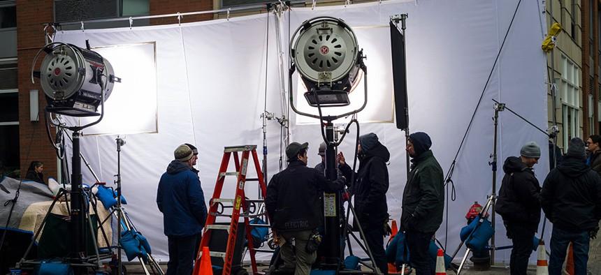 A film crew in Manhattan's Chelsea neighborhood.