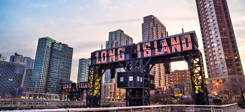 The historic steel railroad gantries at Hunters Point in Long Island City, Queens.