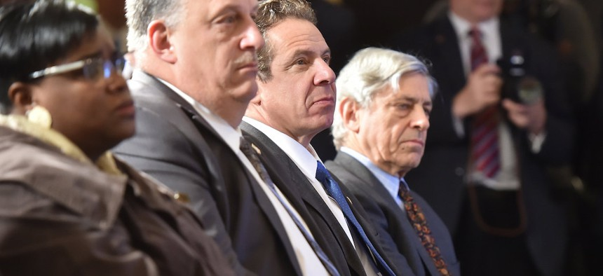 Gary LaBarbera, Building and Construction Trades Council of Greater New York President, to the left of Governor Cuomo in 2016.