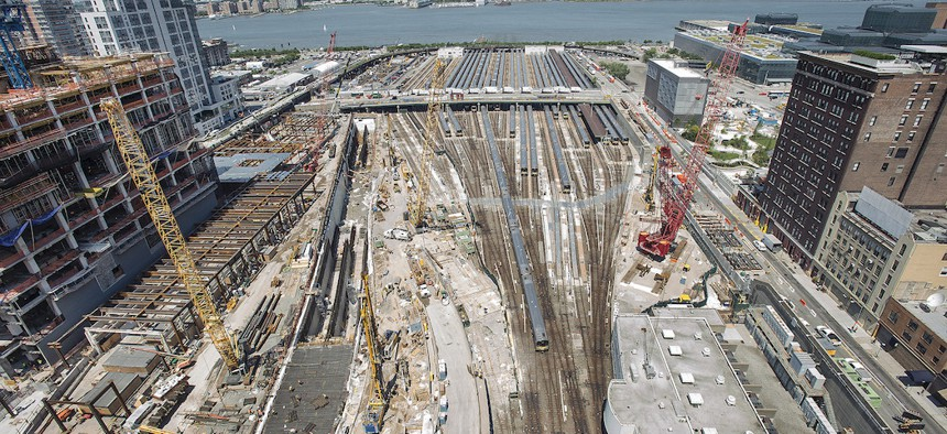 Construction at Hudson Yards in 2014 shows early signs of a trans-Hudson tunnel.