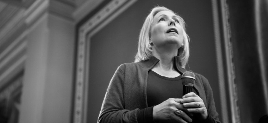 Presidential candidate Sen. Kirsten Gillibrand (D - New York), seen here speaking at the 2019 Women's March at the Iowa State Capitol in Des Moines, Iowa, is one of the most prominent Democrats using MobilizeAmerica.