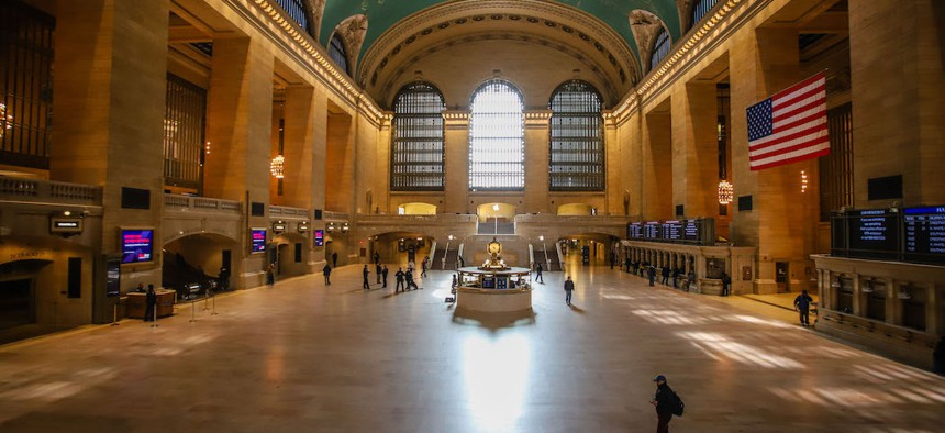 A nearly empty Grand Central during the middle of the day on Tuesday, March 24th.