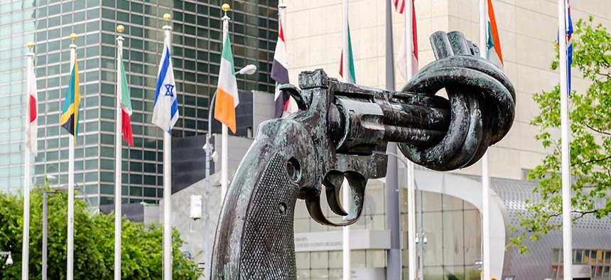 The non-violence sculpture at the U.N. headquarters in New York City.